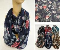 Extra-Wide Light Weight Infinity Scarf [Butterfly & Roses]